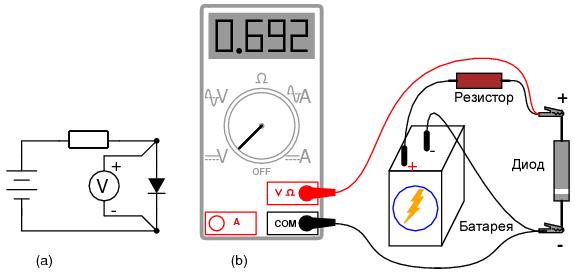 Измерение прямого напряжения диода с помощью мультиметра без функции «проверка диода»: (a) Принципиальная схема. (b) Схема соединений