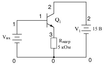 Схема усилительного каскада с общим коллектором для SPICE