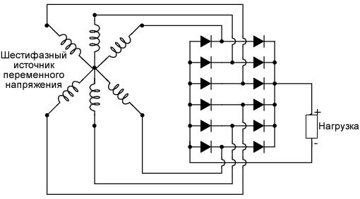Схема шестифазного мостового выпрямителя