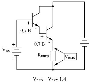 В схеме усилителя с общим коллектором на паре Дарлингтона теряется удвоенное напряжение VБЭ, падение напряжение на PN переходах