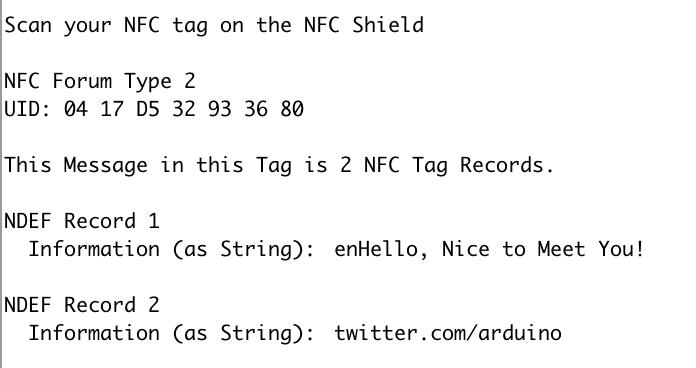 Вывод в мониторе последовательного порта Arduino IDE при чтении NFC метки