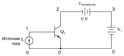 Схема для SPICE моделирования «активного режима» (список соединений приведен ниже)