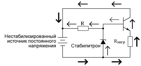 Применение схемы с общим коллектором: стабилизатор напряжения