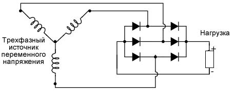 Схема трехфазного мостового выпрямителя