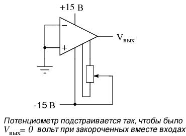 Схема смещения нуля операционного усилителя