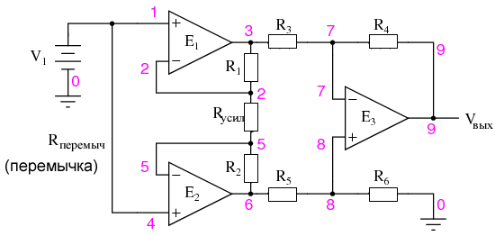 Анализ работы инструментального усилителя в синфазном режиме