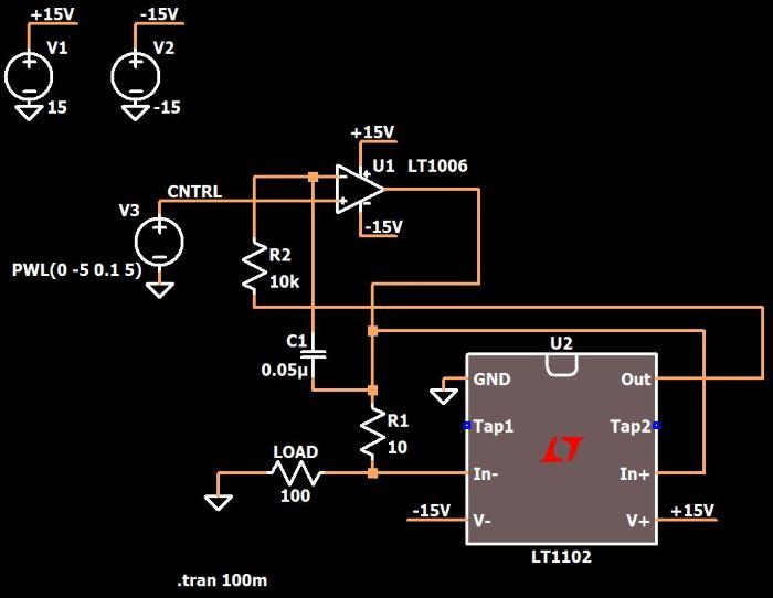 Рисунок 2 Схема источника тока в LTspice