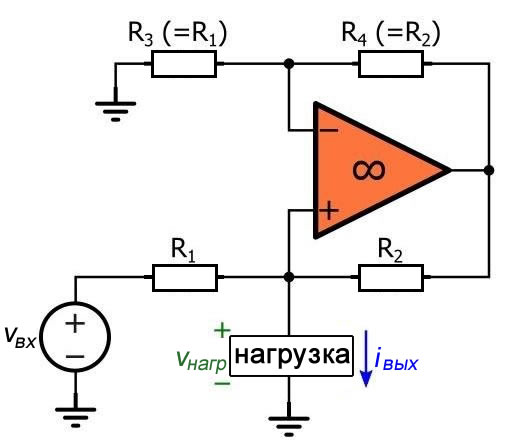 Рисунок 3 Схема источника тока Хауленда