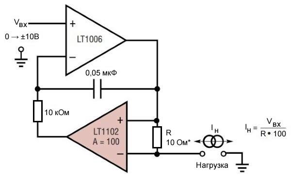 Рисунок 2 – Схема источника тока, программируемого напряжением. взята из технического описания LT1102
