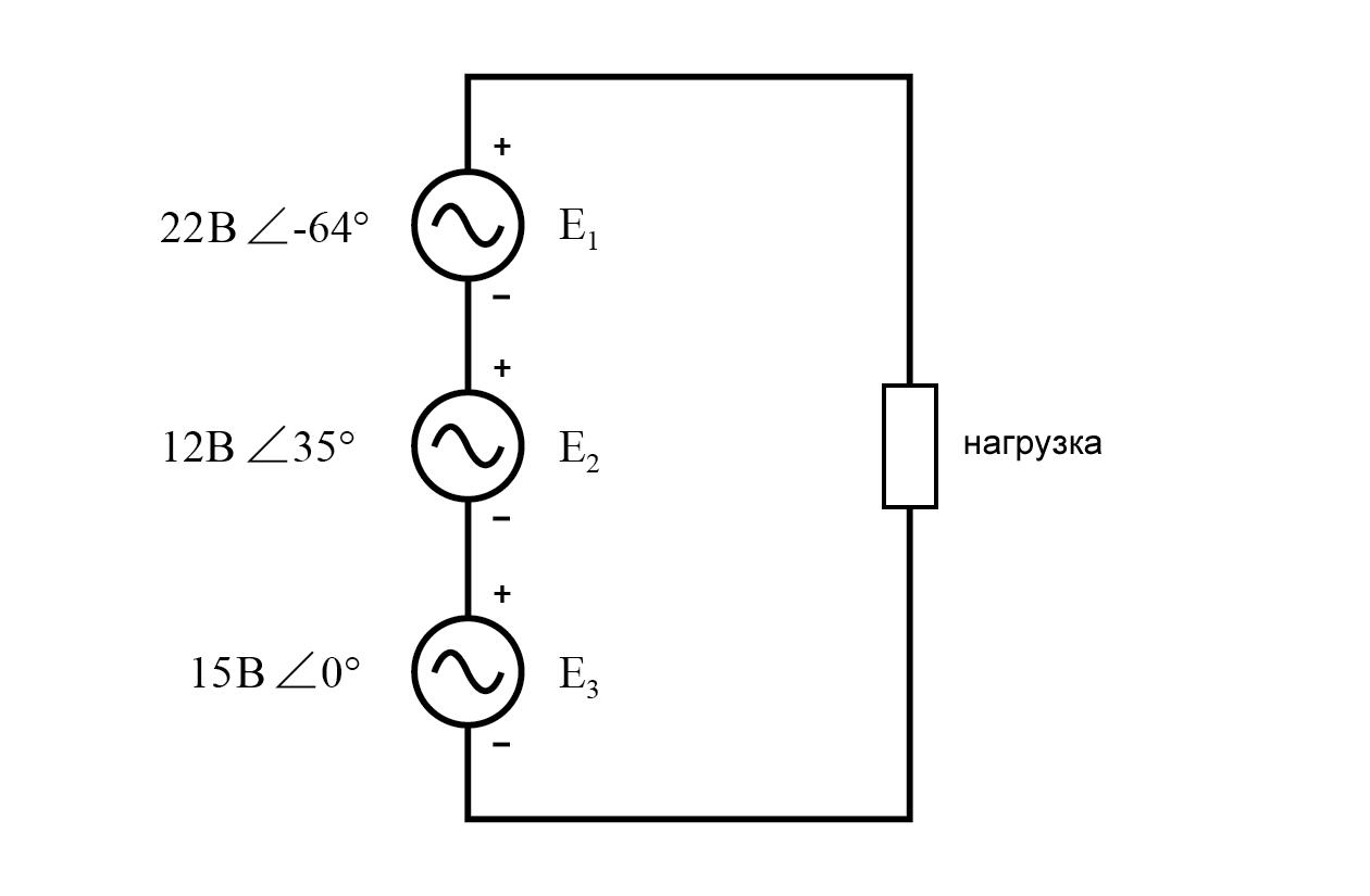 Рисунок 1 Второй закон Кирхгофа (про напряжения) позволяет сложить комплексные напряжения