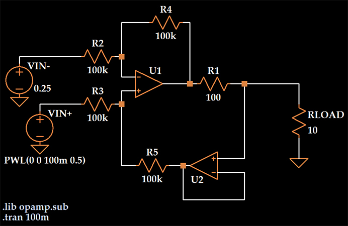 Рисунок 5 Источник тока на двух операционных усилителях. Схема LTspice