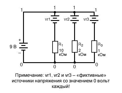 Рисунок 9 Добавление фиктивных источников напряжения для измерения токов через резисторы в SPICE