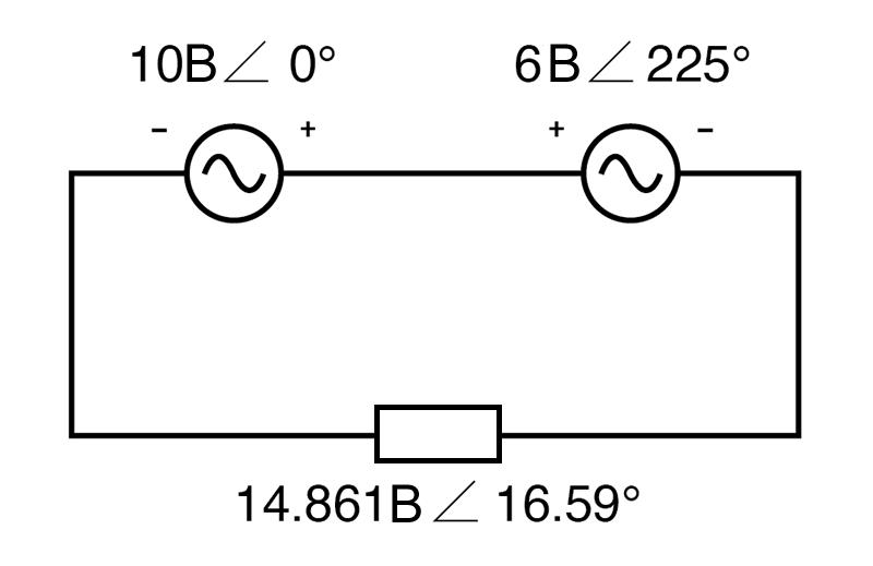 Рисунок 10 Переключение проводов вольтметра на источнике 6 В изменяет угол фазы на 180