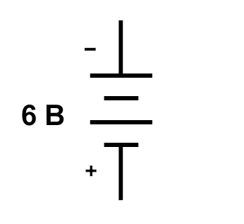 Рисунок 1 Общепринятое обозначение полярности батареи