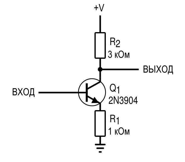 Рисунок 5 Усилитель с общим эмиттером с сопротивлением обратной связи в цепи эмиттера (смещение не показано)