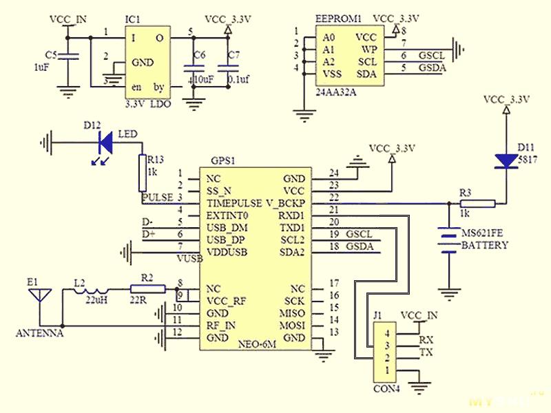 GPS модуль GY-NEO6MV2 схема электрическая принципиальная